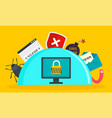 secured computer concept background flat style vector image