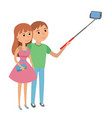 selfie couple man and woman vector image vector image