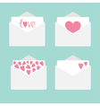set four envelopes with hearts love card vector image vector image