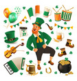 set of for celebrating st patricks vector image