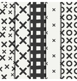 Set of hand drawn geometric seamless ink pattern vector image