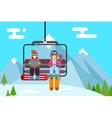 Ski resort holidays skier and snowboarder go up vector image