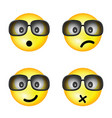 smiley with sunglasses and different face vector image