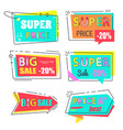 super price big sale 20 set stickers flat style vector image