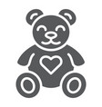 teddy bear glyph icon animal and child plush toy vector image vector image