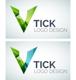 Tick logo design made of color pieces vector image