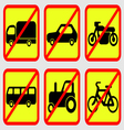 Vehicle Prohibition Icons vector image