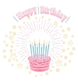Birthday cake with candles and stars vector image