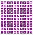 100 business training icons set grunge purple vector image vector image