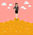 Business woman standing on money vector image vector image