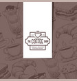 cafe menu cover coffee house emblem bakery shop vector image