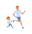 Cartoon father and son running together morning