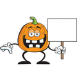 Cartoon Pumpkin Holding a Sign vector image