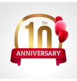 Celebrating 10th years anniversary golden label vector image vector image