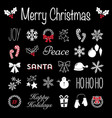 christmas blackboard icons and text vector image