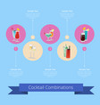 cocktail combinations poster with alcohol beverage vector image vector image