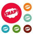 comic boom snap icons circle set vector image vector image