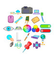 diagram icons set cartoon style vector image
