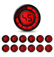 digital black red timer with five minutes interval vector image