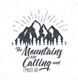 hand drawn advventure label mountains calling vector image vector image