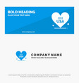 heart love american usa solid icon website banner vector image vector image