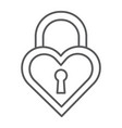heart shaped lock thin line icon love and locker vector image vector image
