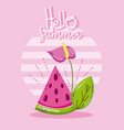 hello summer card with cute cartoons vector image