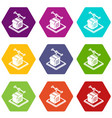 house d printing icons set 9 vector image vector image