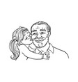 kid girl kisses her grandfather on cheek isolated vector image vector image