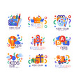 kids club logo original set creative labels vector image vector image