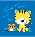 kitten and mouse cartoon vector image vector image