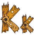 letter k from wooden planks alphabet vector image vector image