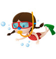 little girl diving under the sea vector image vector image