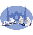 man pray prayer in islam in minimalist style vector image vector image