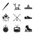 national sport icons set simple style vector image vector image