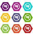 no flea sign icon set color hexahedron vector image vector image