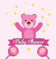 pink toy bear rattles baby shower invitation card vector image vector image
