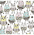 seamless pattern with cute doodle owls vector image vector image