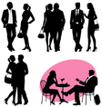 several people silhouettes vector image vector image