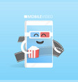 smartphone 3d glasses with popcorn concept watch vector image vector image