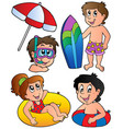 swimming kids collection vector image vector image