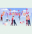 thank you word flat card vector image