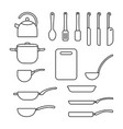 thin line set of cookware vector image vector image