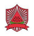 watermelon fresh healthy food emblem vector image vector image