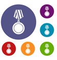 winning medal icons set vector image vector image