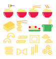 pasta noodles spaghetti - italian food icons set vector image