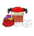 santa stuck in the chimney vector image