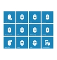 Alarm clock mail in smart watch icons on blue vector image