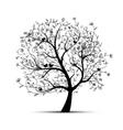 Art tree beautiful black silhouette vector image vector image