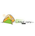 backyard camping lettering tent camp vector image